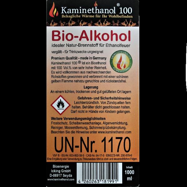 Bioethanol 100% in 1 Liter Flasche mit Kindersicherung